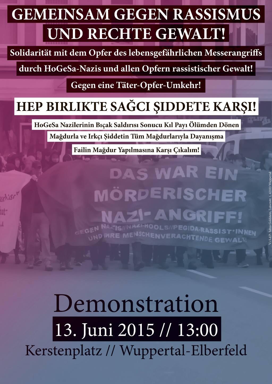 Antifa-Demo in Wuppertal am 13.6. - Gemeinsam gegen Rassismus und rechte Gewalt!